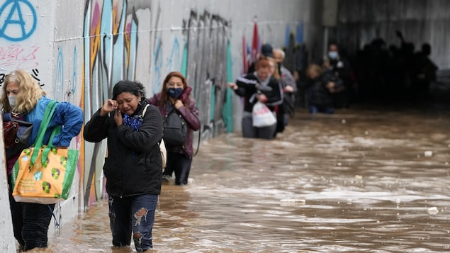 Des passagers évacuant une rue inondée.