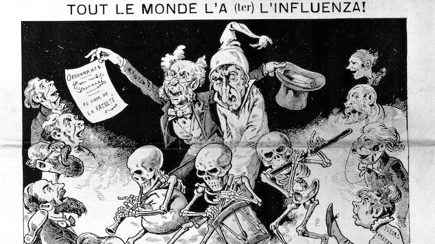 On voit un dessin en page couverture du journal représentant une victime de la grippe russe qui porte un bonnet, entourée de médecins, de pharmaciens et de squelettes musiciens qui dansent.