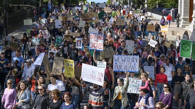 Groupe de gens défilant en brandissant des affiches.