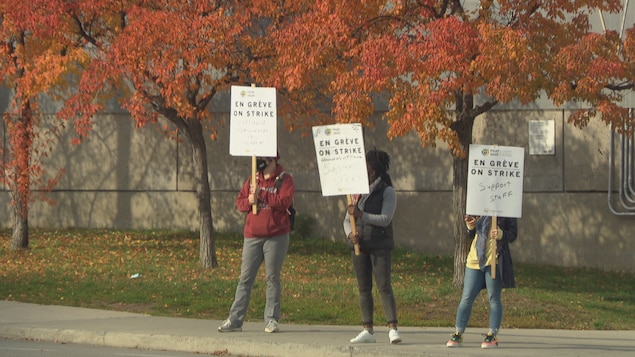 Des employés de l'Université d'Ottawa, en grève, agitent des pancartes.