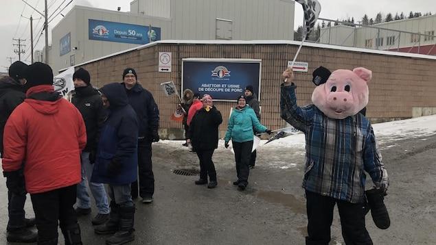 Des grévistes de l'usine Olymel de Princeville bloquent l'accès à l'usine Olymel de Vallée-Jonction lundi matin.