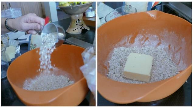 flocons d'avoine et beurre