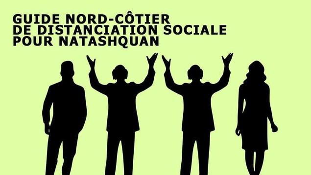 Deux silhouettes séparées par deux silhouettes de Gilles Vigneault. L'image est titrée «Guide de distanciation sociale pour Natashquan.