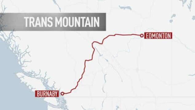 Le tracé du pipeline Trans Mountain, en Colombie-Britannique.