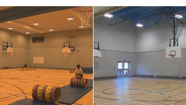Le gymnase de l'École Plein Soleil (à gauche) et celui de la Croisée (à droite)