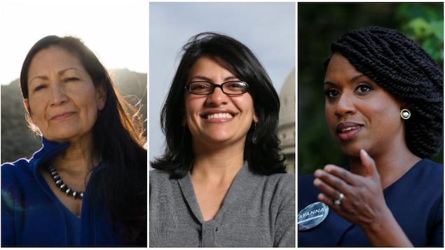 Deb Haaland, Rashida Tlaib et Ayanna Pressley, dans des photos séparées, de face.