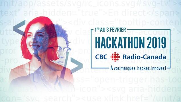 Une image sur laquelle on peut lire que le Hackathon 2019 de CBC/Radio-Canada doit se tenir du 1er au 3 février. La photo d'une jeune femme et d'un jeune homme sont superposés en semi-transparence dans la partie gauche.