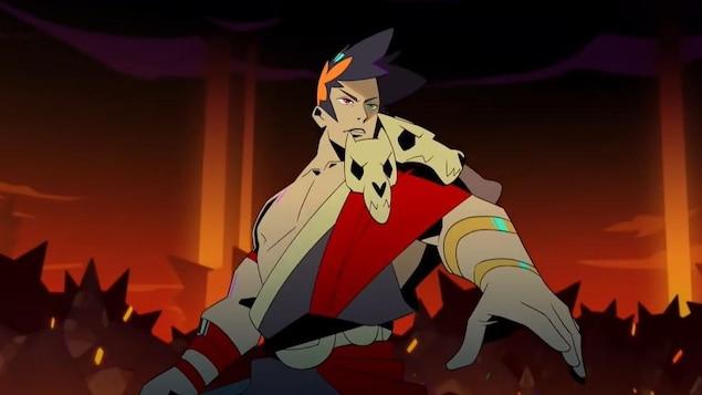 Un personnage tient une épée et il est entouré de monstres.