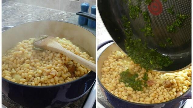 On verse la sauce au persil sur les haricots blancs cuits.