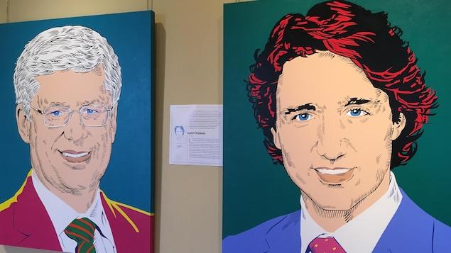 Portraits de Stephen Harper et Justin Trudeau