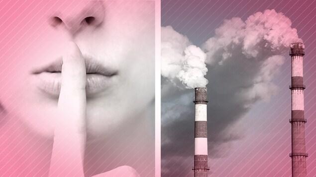 Photo montage avec à gauche une femme tenant un doigt devant ses lèvres et à droite, deux cheminées desquelles émane de la fumée.