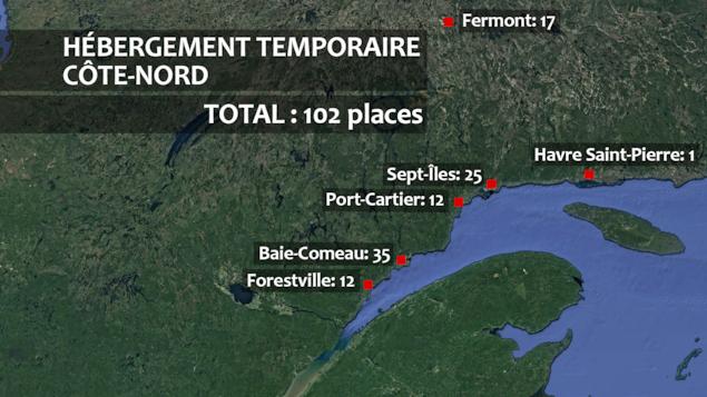 Une carte avec les ressources en hébergement temporaire: un total de 102 places.