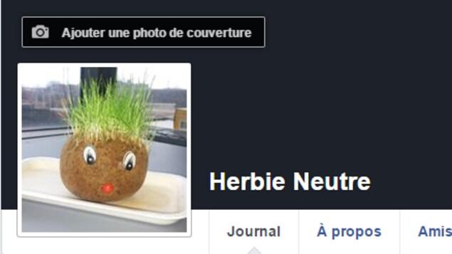 Capture d'écran de la page Facebook «Herbie Neutre», créé par Jeff Yates dans le cadre d'une expérience.