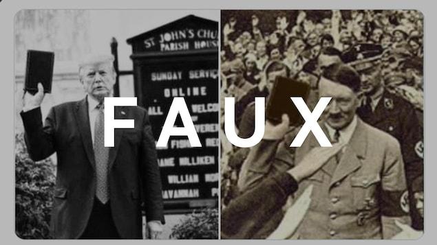 Nous voyons deux photos, une de Donald Trump et une d'Adolf Hitler, les deux avec une bible à la main.