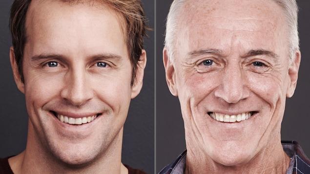 Le visage d'un même homme, jeune et vieux.