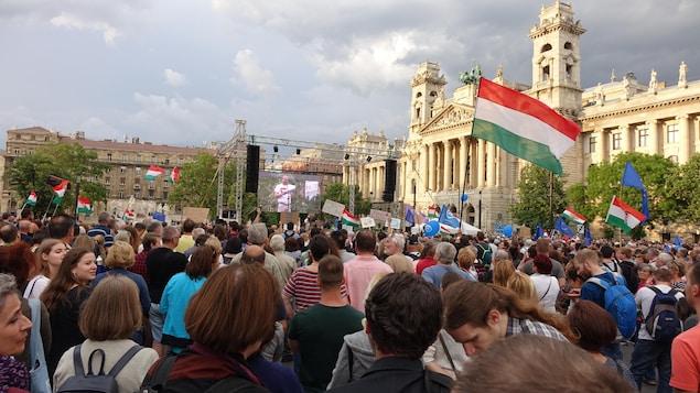 Une foule avec des drapeaux et des affiches devant le parlement