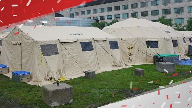 Cet hôpital temporaire regroupe une urgence, une unité de soins mineurs et une unité de soins intensifs.