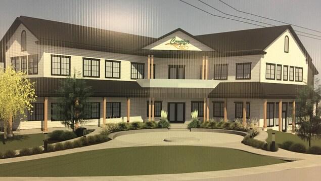 Une maquette du futur hôtel de ville de compton, tel que projet par le conseil municipal.