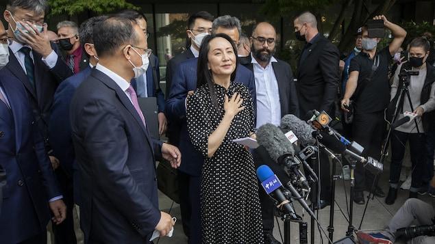 2021 年 9 月 24日,孟晚舟在获释后对媒体发表讲话。