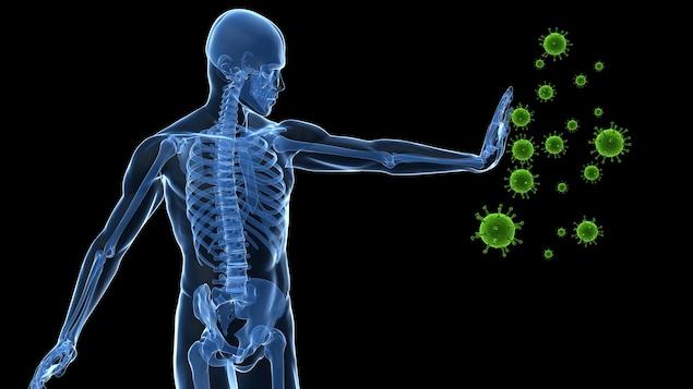 Illustration montrant un humain repoussant des virus.