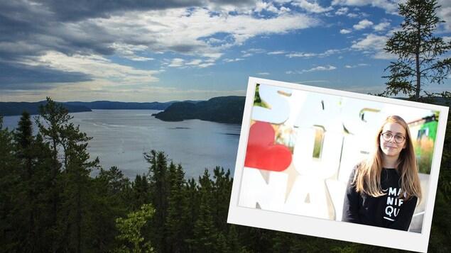 Le fjord du Saguenay et une jeune fille dans une cadre devant.