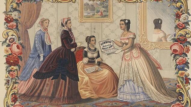Des femmes en coquettes robes longues commentent les vertus d'un savon pour la toilette dans un salon du 19e siècle. Le dessin aux couleurs vives respire la fraîcheur.