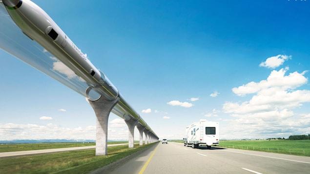 Un système de transport  hyperloop.