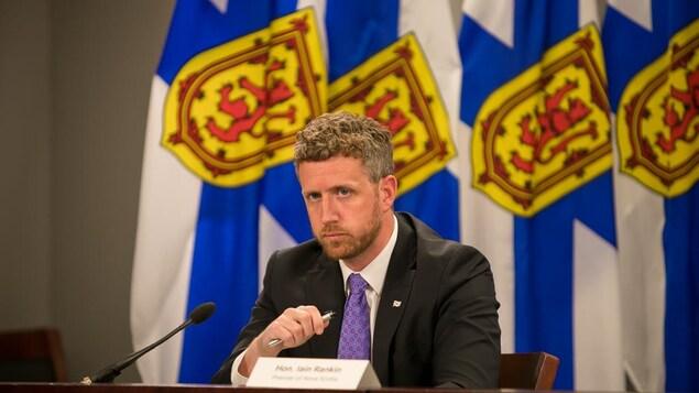 Le premier ministre de la Nouvelle-Écosse Iain Rankin lors d'un point de presse sur la COVID-19 le 5 juillet 2021.