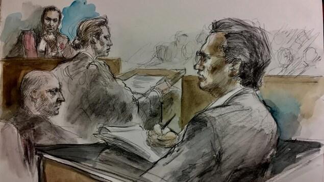 On voit une illustration judiciaire qui montre le juge Sohail Akhtar en train de présider le procès d'Ian Ohab pour meurtre non prémédité.