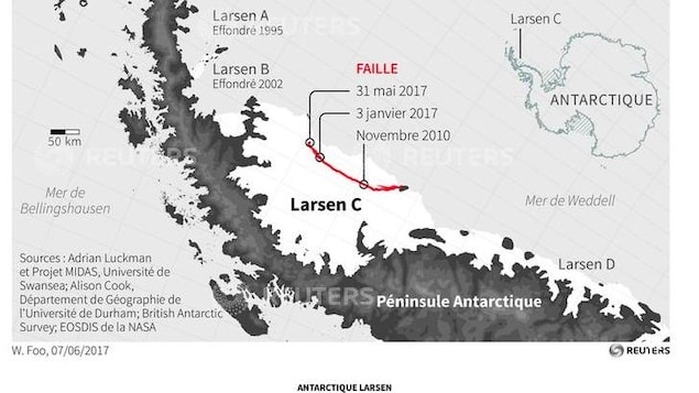 Carte de la barrière de glace Larsen C en Antarctique.
