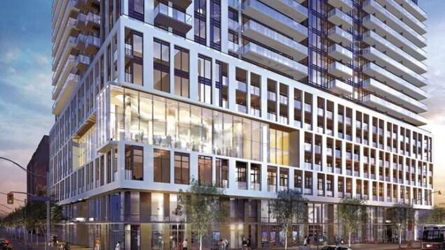 un tour qui représente le futur Centre autochtone pour l'innovation et l'entrepreneuriat, il ressemble aux tours à condominiums de Toronto, de larges vitres et fenêtres, un effet miroir et la tour est haute et en plein centre de la Ville Reine, très moderne