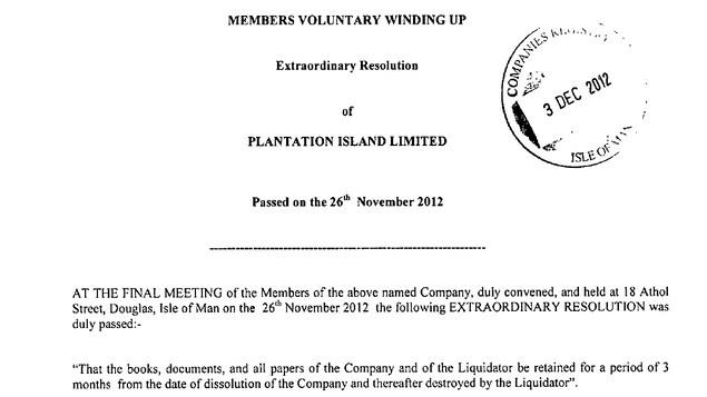 Résolution de la société Plantation Island Limited