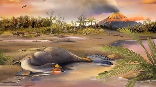 Illustration artistique du spécimen bien préservé de Caudipteryx.