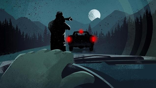 Illustration montrant un tireur dehors pointant son arme vers un conducteur au volant de son véhicule.