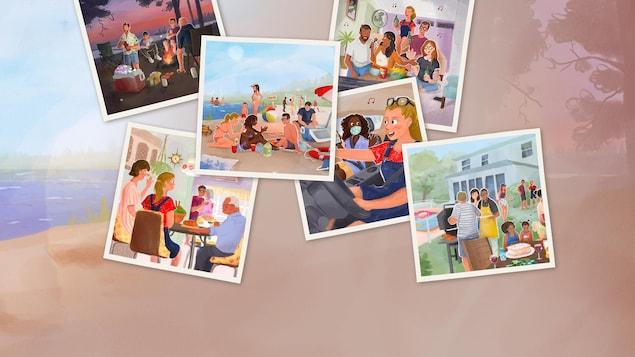Un collage de six illustrations.