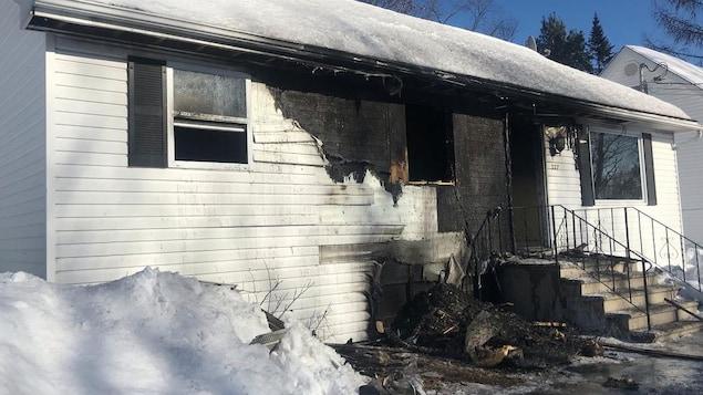 Maison à Fredericton après l'incendie du 23 février 2019.