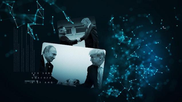 Poignée de mains entre Donald Trump et Vladimir Poutine. En arrière-plan, la même scène avec le dirigeant nord-coréen Kim Jong-un.