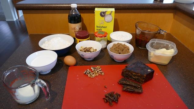 Les ingrédients pour le gâteau Reine Elizabeth
