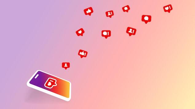 Dessin d'un téléphone intelligent aux couleurs d'Instagram duquel s'échappent des icônes de notification de commentaires et de mentions J'aime.