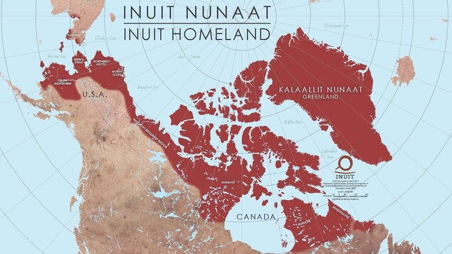 A map with the Inuit regions of the world shaded in.