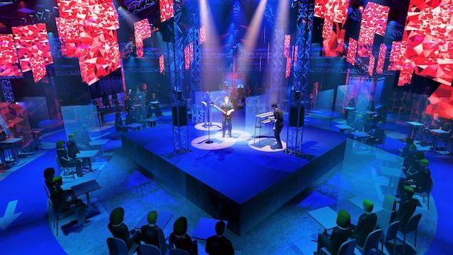 Simulation montrant des personnes assises autour d'une scène sur laquelle joue un groupe de musique.