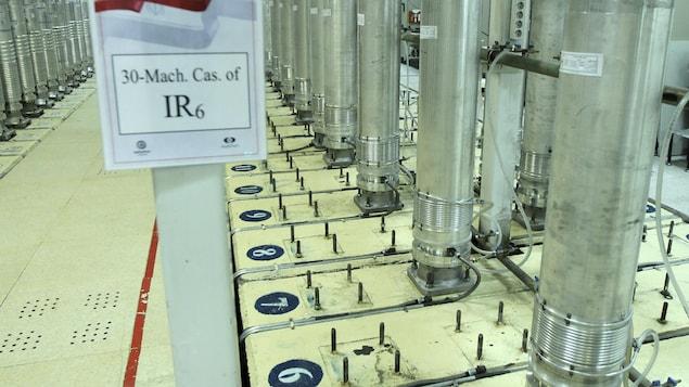 Des machines centrifuges dans l'installation d'enrichissement d'uranium en Iran.