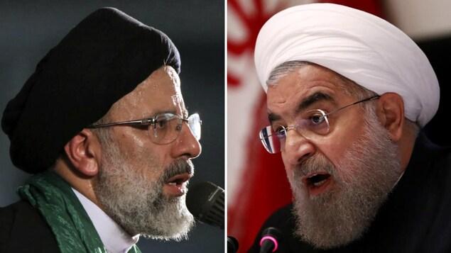 Deux Iraniens portant des turbans, l'un noir, l'autre blanc, parlent dans un micro.