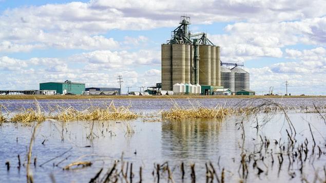 Un silo de céréales avec de l'eau au premier plan.