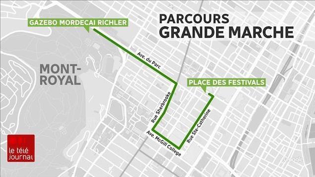 Une infographie présentant l'itinéraire de la marche pour le climat à Montréal