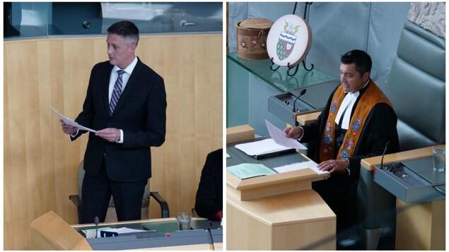 À gauche, R.J. Simpson pose une question à la Chambre, à droite, le président de l'Assemblée, Jackson Lafferty.