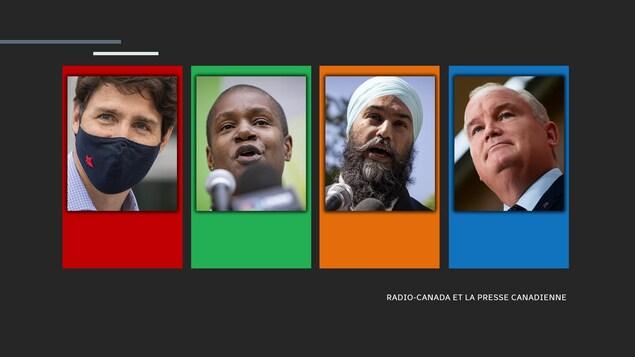 Justin Trudeau, chef libéral; Annamie Paul, cheffe verte, Jagmeet Singh, chef néodémocrate, et Erin O'Toole, chef conservateur