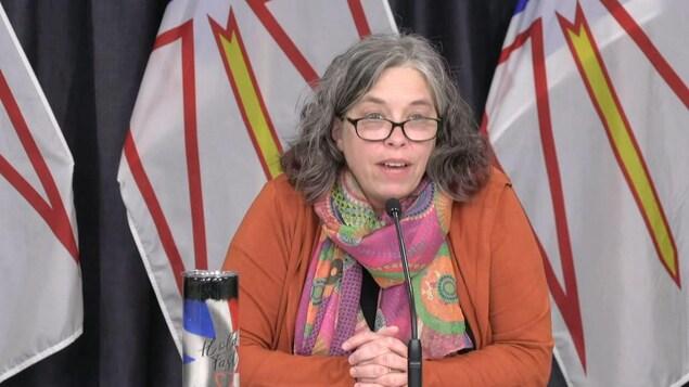 Janice Fitzgerald parle en conférence de presse, assise devant des drapeaux de Terre-Neuve-et-Labrador.