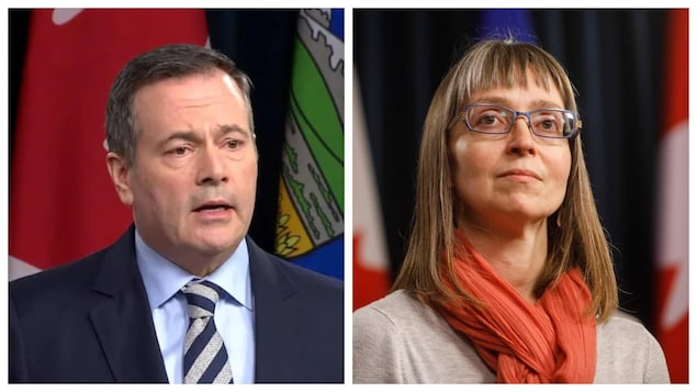 L'image est scindée en deux. À gauche, le premier ministre, Jason Kenney. À droite, la médecin hygiéniste en chef, Deena Hinshaw. Le premier parle et la deuxième regarde au loin.