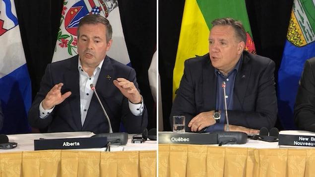 Montage de Jason Kenney et François Legault lors de la conférence de presse de clôture du Conseil de la fédération, à Saskatoon.